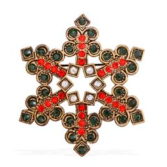Multi Color Austrian Crystal Snowflake Brooch A 10260