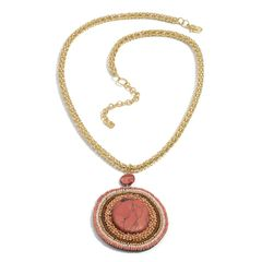 Red Chroma, Seed Bead Necklace (22-24 in) in Gold-tone A 10266
