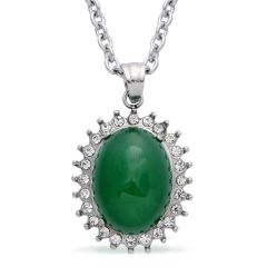 Green Agate, Austrian Crystal Pendant with Chain (20 in) in Stainless Steel TGW 5.000 cts