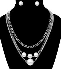 Pearl Chain Layers Necklace Set. Wear only one or 2 or all 3, 18 Inches, Rhodium Plating / Material.