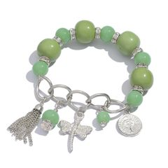 Green Resin, Glass Bracelet in Silver-tone A 10517