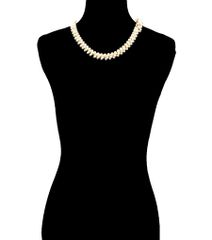 Pearl Necklace with Back Drop In Gold Tone. Gold Plating / Material.