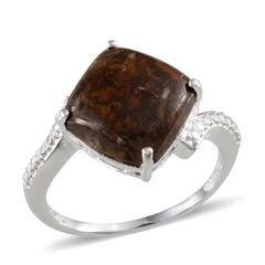 Goldleaf Jasper (Cush) Solitaire Ring in Sterling Silver Nickel Free (Size 8) A 10267