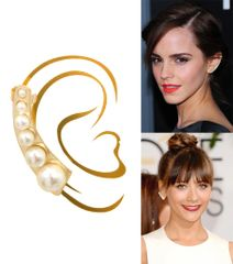 Gold Metal Ear Cuff Earring With Pearl. Clip On And Post Closure. Rhodium Plating / Material. A10385
