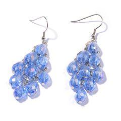 BLUE GLASS EARRINGS IN SILVER TONE.