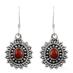 Artisan Crafted Mediterranean Coral (Rnd) Earrings in Sterling Silver Nickel Free TGW 0.48 Cts.