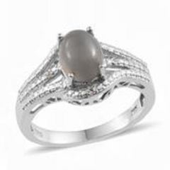 SRI LANKAN TITANIUM MOONSTONE (OVL 2.25 Ct), WHITE TOPAZ RING IN PLATINUM OVERLAY STERLING SILVER NICKEL FREE (SIZE 9).