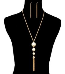 Gold Metal Long Necklace Set With Bold Cream Pearl And Dropping Tassel Chain. Lobster Clasp Closure. A 10451