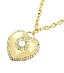 Attractive gold necklace featuring heart shape with round clear round shape on the center and edge. Lobster clasp closure. 18 Inches, Gold Plating / Material.