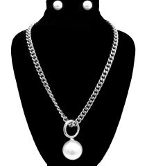 Rhodium chain necklace set featuring cream pearl. Lobster clasp closure. 18 Inches Long, Rhodium Plating / Material.