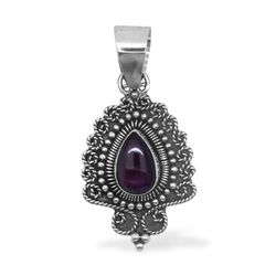 Bali Legacy Collection Orissa Rhodolite Garnet Pear Pendant with Sterling Silver Chain in Sterling Silver Nickel Free