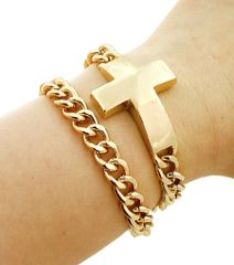 Simply the best cross pendant bracelet. Double layered chain with lobster clasp closure.