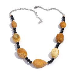 Kennedy Range Mookaite, Black Agate, Freshwater Pearl Necklace (20 in) in Silvertone and Stainless Steel TGW 185.820 cts.