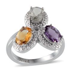 Amethyst, Brazilian Citrine, Green Amethyst (Ovl) Ring in Stainless Steel (Size 9) TGW 3.51 Cts.