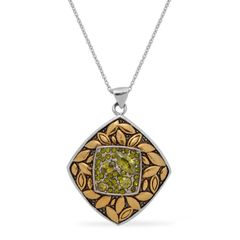 GREEN AUSTRIAN CRYSTAL PENDANT WITH CHAIN (20 in ) IN ION PLATED YG AND STAINLESS STEEL.