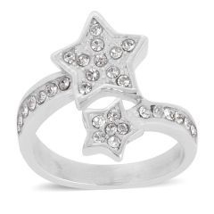 White Austrian Crystal Ring in Stainless Steel (Size 10) A 10536