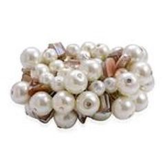 A 1924014 WHITE GLASS PEARL, SHELL BRACELET (STRETCHABLE).