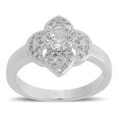 Simulated White Diamond Ring in Silvertone (Size 6.5) A 10543