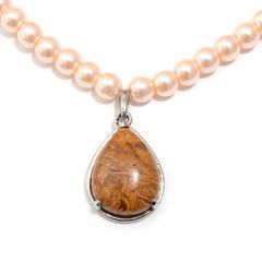 SCRIPT STONE JASPER ( PEAR ) PENDANT IN STAINLESS STEEL, WITH PEACH GLASS PEARL BEAD NECKLACE ( 20 In ) TGW 10.00 Cts.