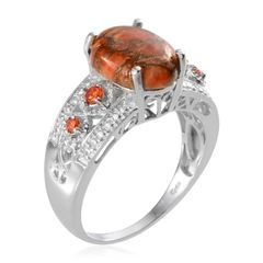 Mojave Orange Turquoise, Simulated Orange Diamond Ring in Platinum Bond Brass (Size 7)