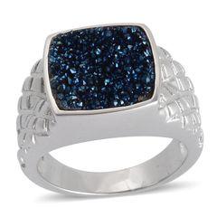 Cobalt Blue Drusy Quartz (Cush) Ring in Silvertone (Size 5) TGW 20.00 Cts