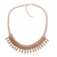 PINK GLASS, WHITE AUSTRIAN CRYSTAL NECKLACE (18 IN) IN GOLD-TONE. A 10462