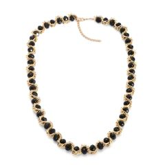 BLACK GLASS NECKLACE (24 In) IN GOLDTONE.