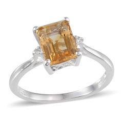 BRAZILIAN CITRINE (Oct 2.25 Ct),WHITE TOPAZ RING IN PLATINUM OVERLAY STERLING SILVER NICKEL FREE (SIZE 8).