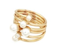 GOLD COLOR PEARL SWIRL RING (Size 7) GOLD PLATING / MATERIAL. A 10470
