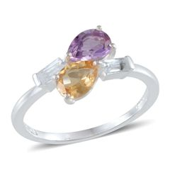 BRAZILIAN CITRINE, AMETHYST ( PEAR ),TGW 1.61 CTS. WHITE TOPAZ RING IN STERLING SILVER NICKEL FREE ( SIZE 8 )
