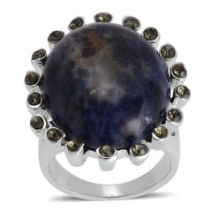 Sodalite, Austrian Crystal Ring in Stainless Steel (Size 6) TGW 10.001 cts.