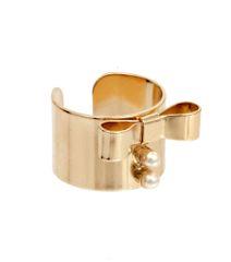 Gold Ribbon Pearl Ring. Gold Plating / Material.