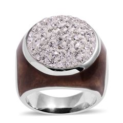 White Austrian Crystal Ring in Stainless Steel (Size 7) A 10488