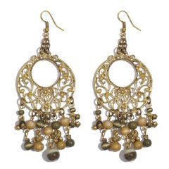 Brown Glass Beads Earrings in Gold-tone A 10481