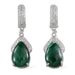 KARIS Collection - African Malachite (Pear), Simulated Diamond Earrings in Platinum Bond Brass TGW 16.90 cts.