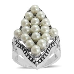 Glass Pearl Ring in Stainless Steel (Size 6) A 10557