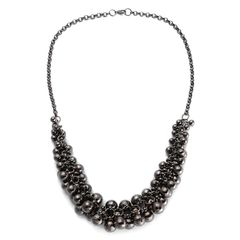 BEAD NECKLACE (22 IN) IN ION PLATED BLACK STAINLESS STEEL.