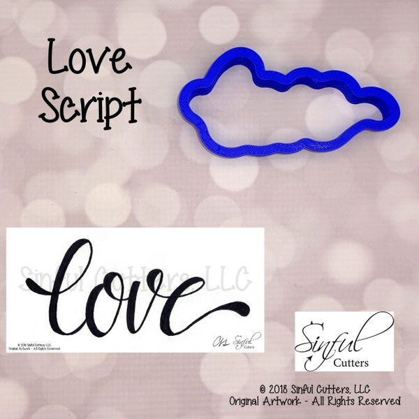 Love Script Cookie / Fondant Cutter and Stencil Optional