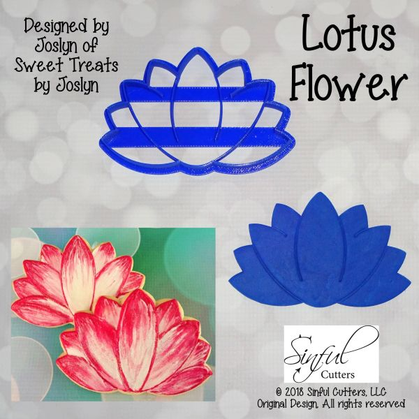 Lotus Flower Cookie And Fondant Cutter Sinful Cutters Premium 3d