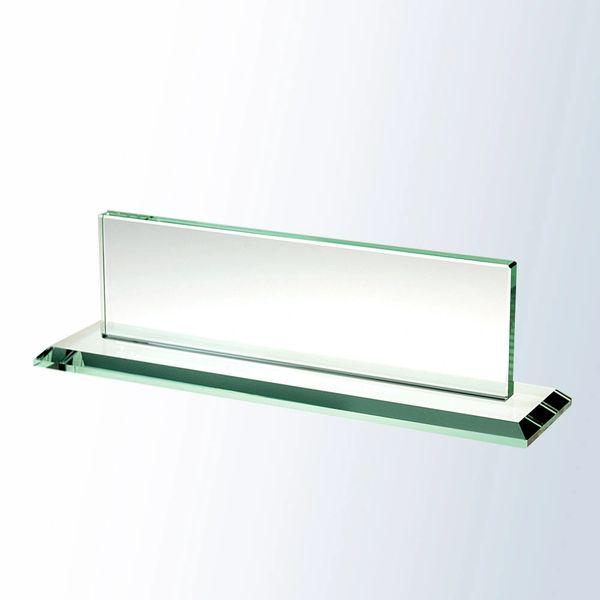 Jade Glass Nameplate w/ Glass Base