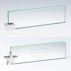 Jade Glass Nameplates w/ Corner Holder