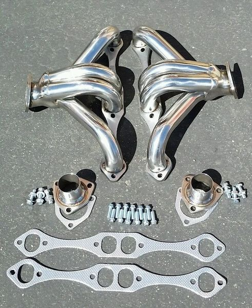 CHEVY SMALL BLOCK HUGGER 283 305 327 350 400 STAINLESS V8 EXHAUST SHORTY HEADER