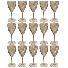 SOLD!! Set of 15 Rare Baccarat Genova White Wine Glasses