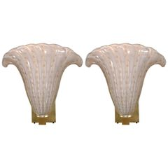 SOLD!! Pair of Murano Glass Plume Form Wall Sconces