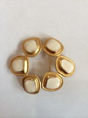 "Vintage 1950's Beautiful White Enamel Stamped ""C"" Brooch/Pin"