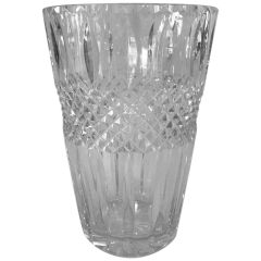 SOLD - 1930s Cut Cross Hatched Crystal Vase