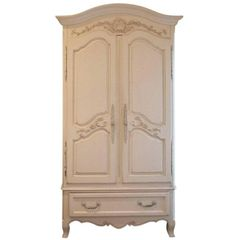 ON SALE NOW!! Fabulously French Armoire Carved Detail French Creme White Painted Tons of Space