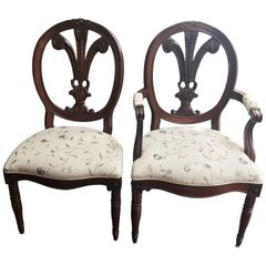 SOLD!1 Maison Jansen Style Set of Seven Hand-Carved Feather Back Louis XVI Chairs