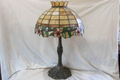 SOLD!! Vintage 1940's Art Deco Tiffany Style Fabulous Colors Lamp Lights Soft Glow