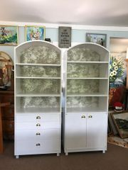 SOLD!1 Mid-Century Modern Satin White and Zinc Cabinets
